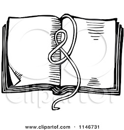 1146731-Clipart-Of-A-Retro-Vintage-Black-And-White-Ribbon-On-An-Open-Book-Royalty-Free-Vector-Illustration.jpg